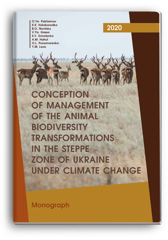 Cover for CONCEPTION OF MANAGEMENT OF THE ANIMAL BIODIVERSITY TRANSFORMATIONS IN THE STEPPE ZONE OF UKRAINE UNDER CLIMATE CHANGE: monograph